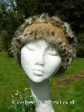 shaped toscana shearling headband in caramel spotty