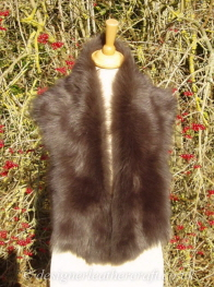 47 inch Soft Chocolate Brown Toscana Shearling Scarf S8 Worn as a Collar