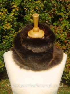 48 inch Amandari Toscana Shearling Scarf Worn as a Snood