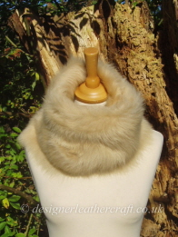 48 inch Biscuit Beige Toscana Shearling Scarf Worn as a Snood