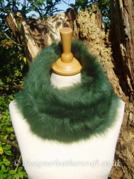 48 inch Emerald Green Toscana Shearling Scarf Worn as a Snood