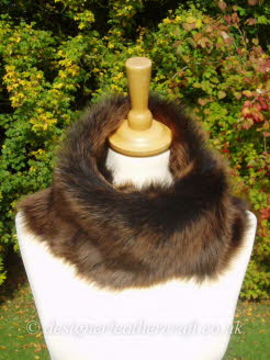 50 inch Amandari Toscana Shearling Scarf Worn as a Snood