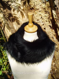 54 inch Black Toscana Shearling Scarf Worn as a Snood