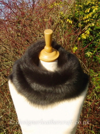 54 inch Marron Brown Toscana Shearling Scarf S9 Worn as a Snood