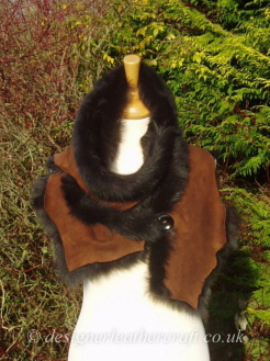 67 inch Marron Brown Toscana Shearling Scarf  S6 Fastened with a Wooden Button