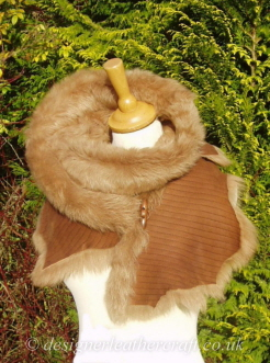 70 inch Toffee Coppertone Toscana Shearling Scarf S3 Fastens with a Wooden Toggle