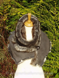 77 inch Grey Wolf Toscana Shearling Scarf S5 Fastens with a Wooden Button