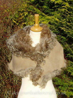 78 inch Taupe Pintos Tigrado Shearling Scarf S2 Fastens with a Wooden Toggle