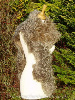 78 inch Taupe Pintos Tigrado Shearling Scarf S2 Over the Shoulder