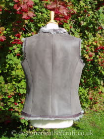 Back of the Lavender Grey Toscana Shearling Gilet BL23