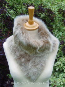 Beige Brisa Toscana Shearling Tippet T29 Fastens with Magnets