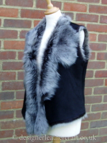 Black Brisa Shearling Gilet in a Suede Finish