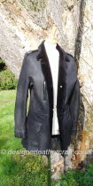 Black Military Style Sheepskin Jacket