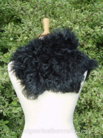 Black Tipped Tigrado Shearling Sheepskin  Wrap Pic 2