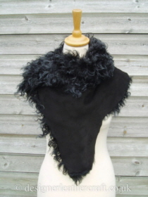 Black Tipped Tigrado Shearling Sheepskin  Wrap Reversed Pic 6