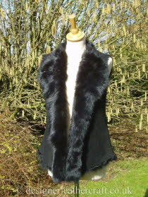 Black Toscana Shearling Gilet Back Length 23 inches (2)