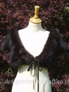 Black Toscana Shearling Wrap with Leather Ties