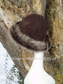 Brown Brisa Toscana Shearling Hat in a Suede Finish