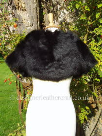 Cape Shape Shearling Wrap in Black Toscana