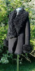 Coat with Long Curly Collar