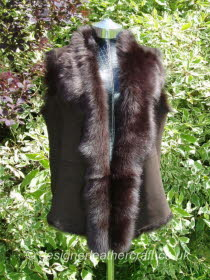 Dark Brown Toscana Shearling Gilet Size 18 Back Length 25 inches