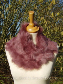 Deep Pink Toscana Shearling Tippet Fastens with Magnets