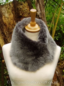 Grey Brisa Toscana Shearling Tippet T52 Fastens with Magnets