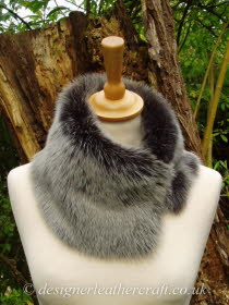 Grey Brisa Toscana Shearling Tippet T53 Fastens with Magnets