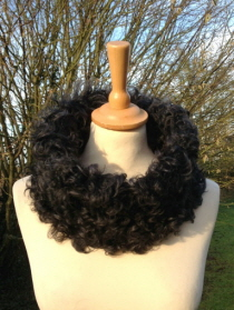 Medium Size Tigrado Shearling Snood - Black with Steel Grey Tips