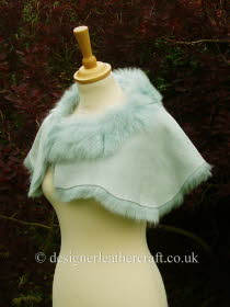 Pale Turquoise Toscana Shearling Wrap Reversed