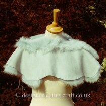 Reverse Side of the Pale Turquoise Toscana Shearling Shrug Sg3