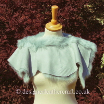 Reverse Side of the Pale Turquoise Toscana Shearling Shrug Sg4
