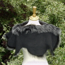Reverse of Black Brisa Toscana Shearling Shoulder Shrug Sg1