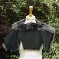 Reverse of Black Brisa Toscana Shearling Shoulder Shrug Sg2
