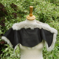 Reverse of Stone and Black Toscana Shearling Shoulder Shrug Sg5