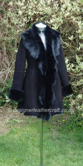 Short Toscana Shearling Coat in Black Suede Finish