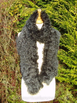 Steel Tipped Black Tigrado Shearling Scarf S1  75 inches long