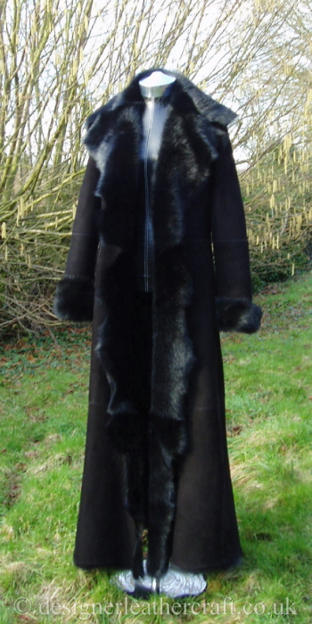 Stunning Full Length Shearling Coat in Black on Black
