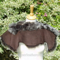 Suede Side of Dark Brown Brisa Toscana Shearling Shrug B