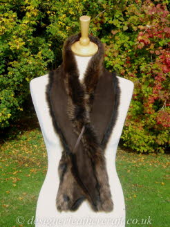 Suede Side of the 48 inch Amandari Toscana Shearling Scarf