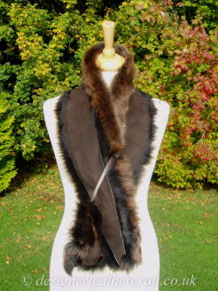 Suede Side of the 50 inch Amandari Toscana Shearling Scarf