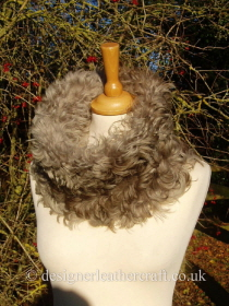 Taupe Shaded Curly Toscana Shearling Snood - Medium